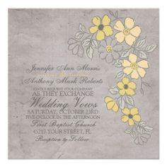 $$$ This is great for          Vintage Yellow and Gray Floral Wedding Invitation           Vintage Yellow and Gray Floral Wedding Invitation in each seller & make purchase online for cheap. Choose the best price and best promotion as you thing Secure Checkout you can trust Buy bestThis Deals ...Cleck See More >>> http://www.zazzle.com/vintage_yellow_and_gray_floral_wedding_invitation-161150528360024753?rf=238627982471231924&zbar=1&tc=terrest