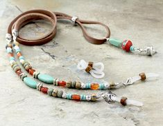 Tribal Turquoise Leather Eyeglass Chain Boho Glasses Chain