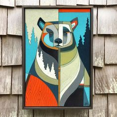 Completed bear commission from a few weeks ago. Acrylic and colored pencils on wood panel with reclaimed wood floater frame. Bear Paintings, Cool Paintings, Watercolor Quilt, Cubist Art, Woodland Art, Picasso Art, Color Pencil Art, Bear Art, Indigenous Art