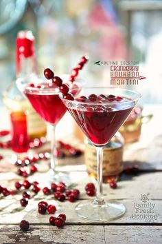Maple Cranberry Bourbon Martini - Cranberry Juice, Bourbon Maple Syrup, Bourbon, Cranberries.