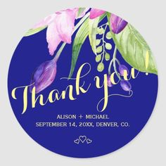 Summer purple navy floral wedding thank you classic round sticker Holiday Photos, Holiday Cards, Invitation Kits, Gift Wrapping Supplies, Elegant Invitations, Bridal Shower Favors, Wedding Thank You, Round Stickers, Floral Wedding