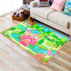 KIDS NON SLIP PRINCESS CASTLE BEDROOM PLAYROOM FLOOR RUG BOYS PLAY MATS  CARPETS