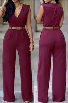 V Neck Tank Sleeveless Red Polyester One-piece Jumpsuit(Without Belt) Burgundy Jumpsuit, Red Jumpsuit, Sammy Dress, Wholesale Fashion, Classy Outfits, Playing Dress Up, Jumpsuits For Women, African Fashion, Fashion Dresses