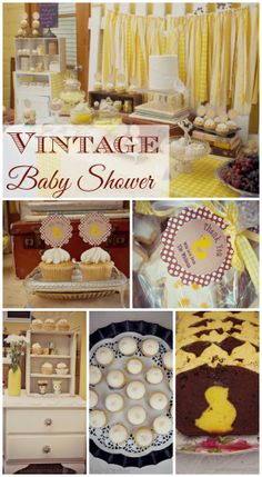 Great vintage baby shower ideas done in yellow! See more party ideas at CatchMyParty.com. #babyshower #vintage #yellow
