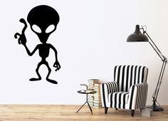 Vinyl Decal Alien UFO Child Room Humanoid Extraterrestrial Wall Sticker (ig1141)