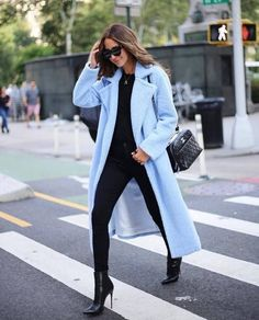 Something Navy blue oversized long teddy faux fur coat. Winter Coat Outfits, Winter Fashion Outfits, Fall Outfits, Blue Sweater Outfit, Light Blue Coat, Mantel Outfit, Fall Inspiration, Trench Coat Outfit, Quoi Porter