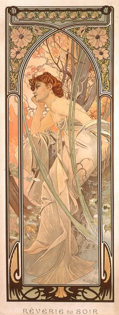 Evening reverie 1899  The fresh yet delicate colours used by Mucha, combined with exuberant floral motifs and, in particular, with four beautiful women make this a particularly appealing series. Each woman is set within natural surroundings which both reflect her mood and enhance her beauty. The whole is then enclosed in an elaborate ornamental frame reminiscent of a Gothic window.