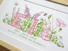 Unique Christening Gifts, Name Paintings, Baby Wall Art, Nursery Art, Textile Art, Fairy, Bullet Journal, Art Prints, Deco