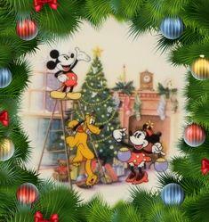 Mickey Minnie and Pluto🎄 Disney Merry Christmas, Mickey Mouse Christmas, Christmas Cartoons, Christmas Mood, Vintage Christmas Cards, Christmas Pictures, Christmas Crafts, Christmas Decorations, Disney Holidays