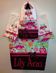 Girl Owl Personalized Diaper Bag Set by BizzyBeeQuilts on Etsy, $85.00