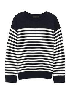 Washable Merino Wool Blend Mariner Stripe Sweater 84d36477f16