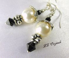 Vintage Styled Black and Ivory Pearl Earrings with by BZOriginals, $14.95
