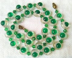 Vintage French Poured Glass Eye Bead Necklace