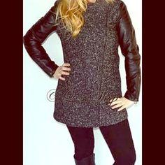 HPLAUNDRY coat NWT size M New with tag coat - Womens Laundry by Design Black Tweed Wool Blend Faux Leather Coat Jacket M Laundry Jackets & Coats