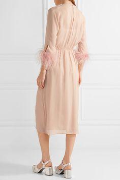 Prada - Feather-trimmed Silk-georgette Midi Dress - Blush - IT42