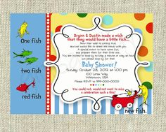 Baby Shower Invitations: Twin Dr Seuss Baby Shower Invitations Polkadot  Wording Dr Seuss Baby Shower. Fishing ...