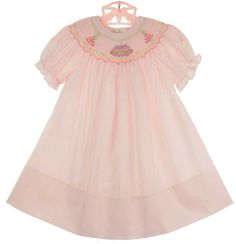 NEW Rosalina Pale Pink Bishop Smocked Dress with Birthday Cake Embroidery $55.00