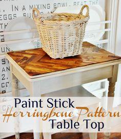 DIY::Herringbone Paint Stick Tabletop (gorgeous &  cheap)!