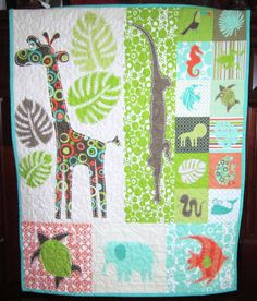 Baby Quilt Animal Toddler Quilt Children Decor Baby by diningout, $88.00