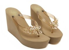 JY Womens Floral Gem Sandals Wedge Flip Flops Gold US 7(EUR 37). Glitter on the flip flop makes you stand out. Good choice for beach/summer wear. Resistant foaming sole. Height:10cm platform:3cm.