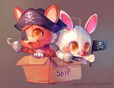 I like the new style in FNAF world, so it inspired me to draw little Foxy and Mangle sailing in an epic pirate ship, conquering the seven seas with their fearsome bloodlust