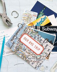 Travel journal - Take a hole punch and a looseleaf ring on your trip. Buy postcards and write you memories of that place on the back. Can also include pamphlets, tickets, etc. When you return home. Make a cover for it, or take it apart and tie a ribbon in the hole you punched in corner. Insert them in a scrapbook pocket so you can take them out and read the message on the back.
