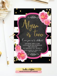 61 best birthday invitations images on pinterest in 2018 party black white stripe birthday invitation floral birthday invitation gold confetti birthday party chalkboard printable any age filmwisefo