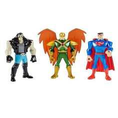 This is a DC Comics Justice League Mighty Minis Hawkman Figure 3 Pack that's produced by the neat folks over at Mattel. The set contains Superman, Lobo, and Hawkman. Neat! The figures are roughly 2 in