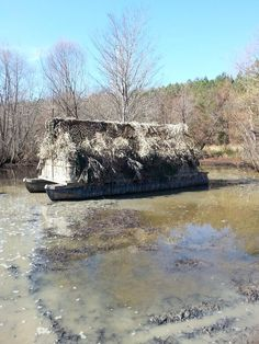 What a great duck blind from a pontoon boat
