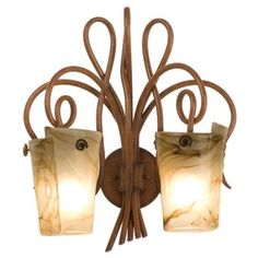 Tribecca Wall Sconce No. 4286 by Kalco Lighting - these come in a variety of color finishes for both the metal and the glass shades.  But only this color would pin.  Awesome!! $650 ea