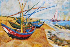 Barques aux Saintes-Marie d'après Van Gogh de la boutique TableauxFPolisano sur Etsy