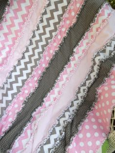 35x39 Riley Blake Chevron and Dots in Pink and Grey Flannel Rag Quilt on Etsy, $38.00