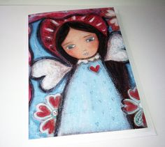 Wings of Love  Greeting Card 5 x 7 inches  Folk Art by FlorLarios, $5.00