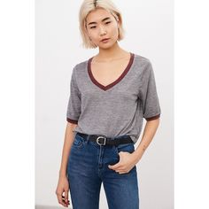Mouchette Round The Bases V-Neck Ringer Tee ($34) ❤ liked on Polyvore featuring tops, t-shirts, grey, grey t shirt, slouchy v neck tee, slouch tee, gray t shirt and v neck tee