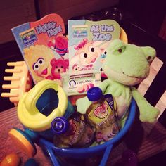 Baby boy easter basket sprinkles ontopspot easter baby boy easter basket idea books baby food stuffed animal and beach toys in a big beach bucket the stotz family story happy easter negle Gallery