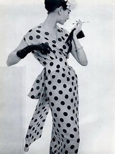 1957 Lanvin Castillo Black and White Polka Dots  Love <3 this dress! ;)