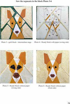 Dog quilt block pattern, Basenji, Animal quilt, Modern home decor, Instant download, Paper Piecing,