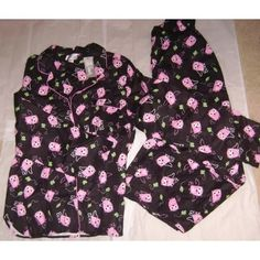 Owl set top and bottom pink and black 2-PIECE PAJAMA PJ SET BY CHARACTER. RETIRED SET, VERY COMFY AND SOFT, WARM AND SNUGGLY, BUTTON DOWN TOP WITH LEFT SIDE UPPER POCKET, ELASTIC WAIST BOTTOMS WIDE LEG. This item is used not new. Intimates & Sleepwear Pajamas