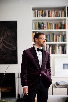 plum suit