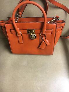 Michael Kors Hamilton Traveler Leather Satchel Shoulder Medium Bag Orange New   eBay