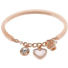 Juicy Couture Crown & Heart Charm Cuff Bracelet (270 ARS) ❤ liked on Polyvore featuring jewelry, bracelets, pink, lobster claw clasp charms, juicy couture jewelry, cuff bracelet, cuff bangle and lobster clasp charms