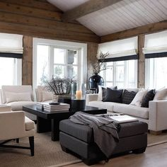 Want to experience the goodness of living in a country-style house and away from the city, and if you love hands-on, log cabin kits is the solution. Modern Cabin Interior, Interior Exterior, Chalet Interior, My Living Room, Home And Living, Living Spaces, Cabin Interiors, Wood Interiors, Cabin Homes