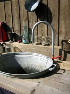 must have outdoor sink! Outdoor Kitchen I'm to make me one of this, since during the spring, I'm outdoors planting! Love it! Outdoor Life, Outdoor Rooms, Outdoor Gardens, Outdoor Living, Outdoor Decor, Outdoor Projects, Garden Projects, Garden Sink, Outdoor Sinks