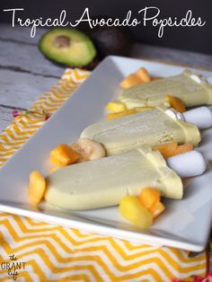 Tropical Avocado Popsicles.  3 ingredient oh so easy to make popsicles perfect for summer.