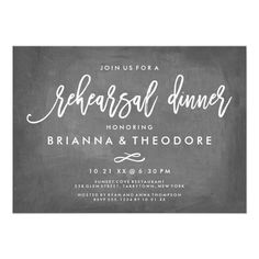 Chic Typography Chalkboard Rehearsal Dinner Card