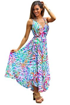 La Moda Womens Rainbow Snow Leopard Maxi Dress Cover up >>> For more information, visit image link. All Fashion, Cute Fashion, Boho Fashion, Fashion 2017, Sexy Dresses, Cute Dresses, Casual Dresses, Chic Outfits, Summer Outfits