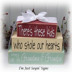 Theres These Kids Who Stole Our Hearts Wood Stacking Blocks The perfect set of stacking blocks for those special grandparents. Perfect for 2x4 Wood Projects, Wood Block Crafts, Craft Projects, Craft Ideas, Woodworking Projects, 2x4 Crafts, Wooden Crafts, Decor Crafts, My Funny Valentine