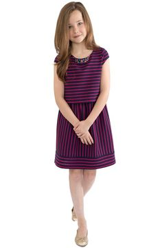 BLUSH by Us Angels Stripe Cap Sleeve Dress (Big Girls) available at #Nordstrom Colorblock Dress, Striped Dress, Chic Outfits, Girl Outfits, Big Girl Clothes, Diy Clothes, Cap Sleeves, Dresses With Sleeves, Girls Dresses