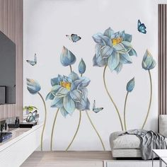 """new york wall stickers uk. CLICK VISIT link for more details - Wall Decals: The Perfect """"Stick-on"""" Design. Flower Mural, Flower Wall Decor, Painted Flowers On Wall, Wall Painting Flowers, Watercolor Flowers, Diy Wand, Diy Room Decor, Bedroom Decor, Bedroom Designs"""