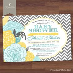 "Baby Shower Invitation - ""Chevron Rose"" - Antique Floral - Vintage - Boy, Girl, Twins, Neutral - Turquoise, Yellow, Grey (Printable) on Etsy, $17.99"
